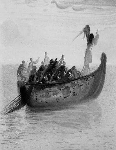 Salvador Dali, Łódź z aniołem jako przewoźnikiem - Czyściec, pieśń II