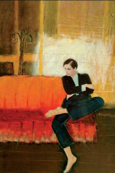 Krzysztof Grajczak: Siedząca, akryl, papier, collage, 2002