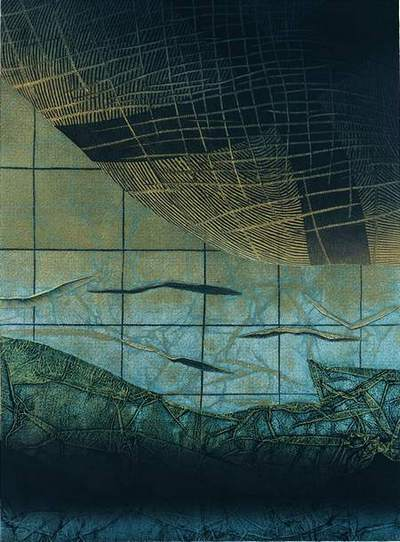 Tomasz Kukawski: ..., linoryt, kolografia, 87x64cm, 2002