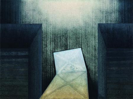 Tomasz Kukawski: In, between, out, kolografia, linoryt, 65x87 cm, 2007