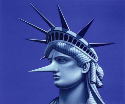 Statue of Liberty, acrylic on board, 2008, 23 x 18 cm