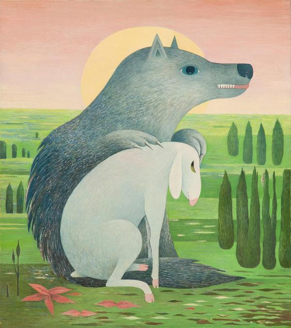 Wilk i owieczka, olej, płótno, 50 x 44 cm