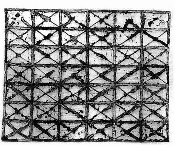 Edward Baran, 42 strony japońskie, papier gazetowy, nic, klej, 170 x 150 cm, 1987