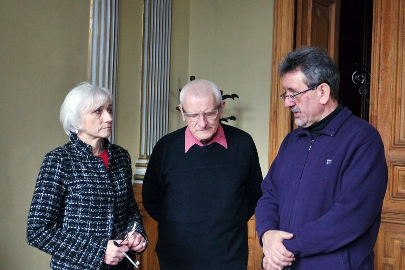 Od lewej: Birutė Jonuškaitė, Waldemar Michalski, Bogusław Wróblewski - w siedzibie Związku Pisarzy Litwy, fot. Anna Goławska