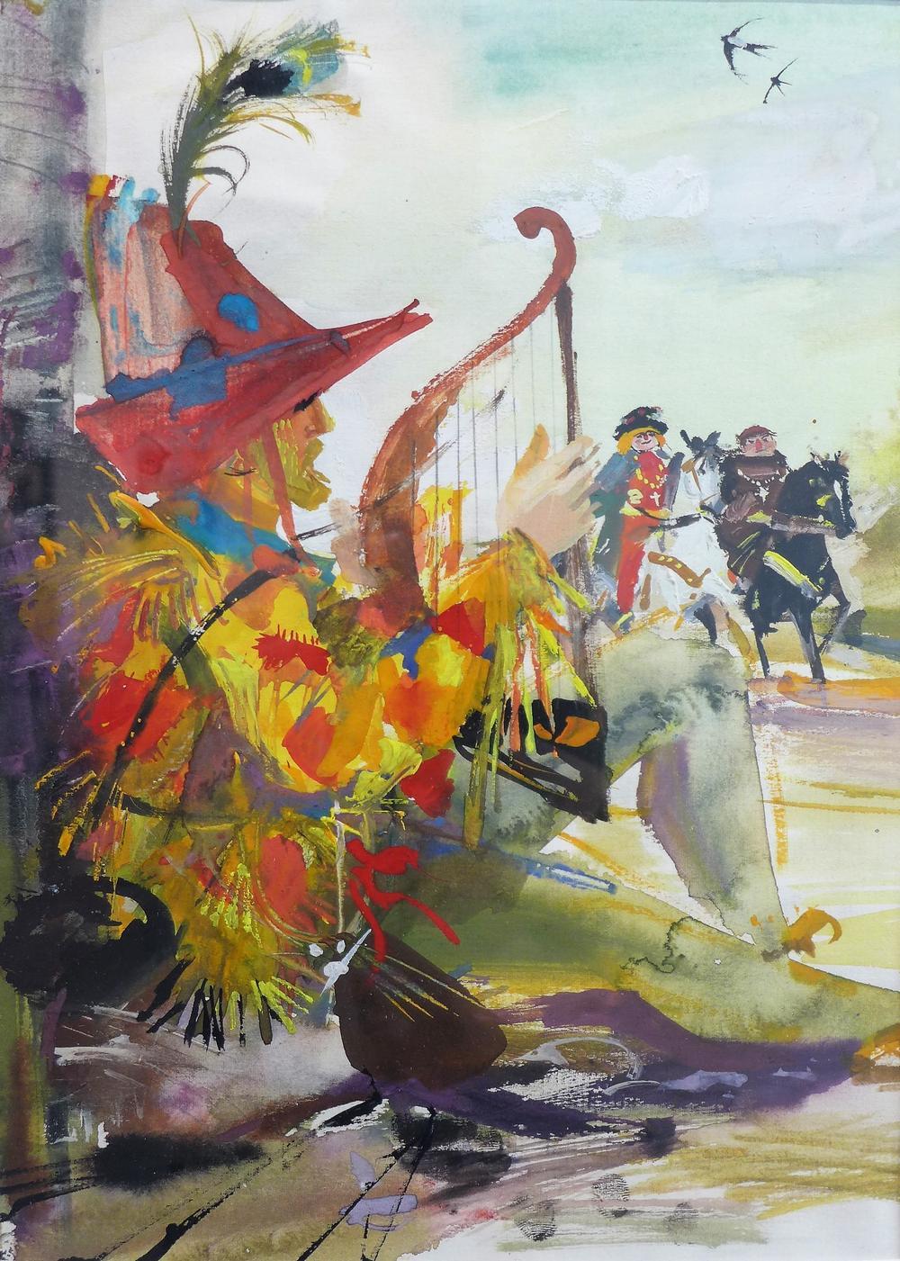 Ilustracja do książki Howarda Pyle'a Wesołe przygody Robin Hooda (wyd. I, Iskry, Warszawa 1961)