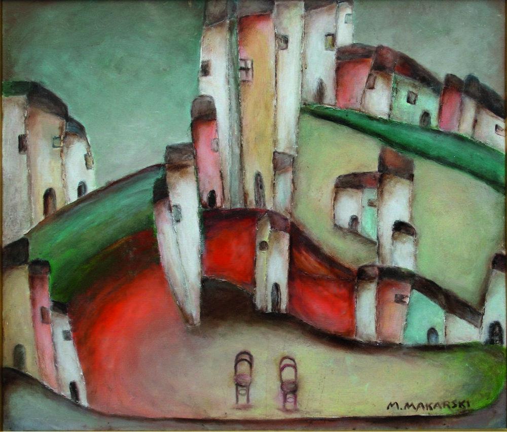 Marian Makarski: Miasto – czekanie II, olej, płótno, 75 x 65 cm, 2010